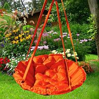 Подвесное кресло гамак для дома и сада 96х120 см оранжевого цвета