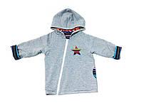 Детская куртка с капюшоном серый/яркая полоска, 74