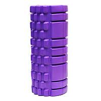 Валик (ролик, роллер) массажный для спины и йоги EVA (33x14см) фиолетовый