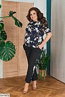 Легкий летний деловой женский костюм блузка и брюки размеры 50-56 арт. 0036