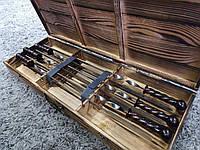 """Набор из 6 шампуров """"Ядро"""" с кованной ручкой в подарочном деревянном кейсе (650х12х3 мм)"""