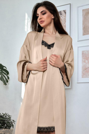 Комплект для сну халат, нічна сорочка