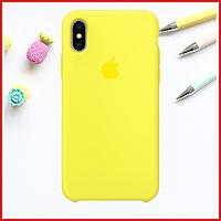 Жёлтый силиконовый чехол на iPhone Xs Max