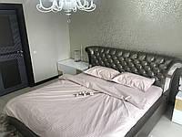 Евро комплект постельного белья Страйп Сатин IMAN (100% хлопок) 1 наволочка Постільна білизна