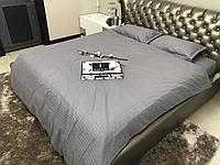 Евро комплект постельного белья Страйп Сатин IMAN (100% хлопок) 2 пододеяльника 1 наволочка Постільна білизна