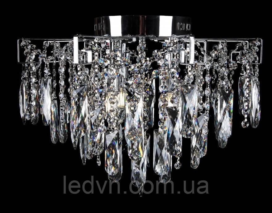 Підвісна кришталева люстра в сріблі на 4 лампи