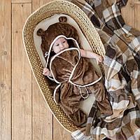 Универсальный махровый спальник, коричневый, 0-6 мес.