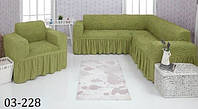 Чехол на угловой диван и кресло зеленое