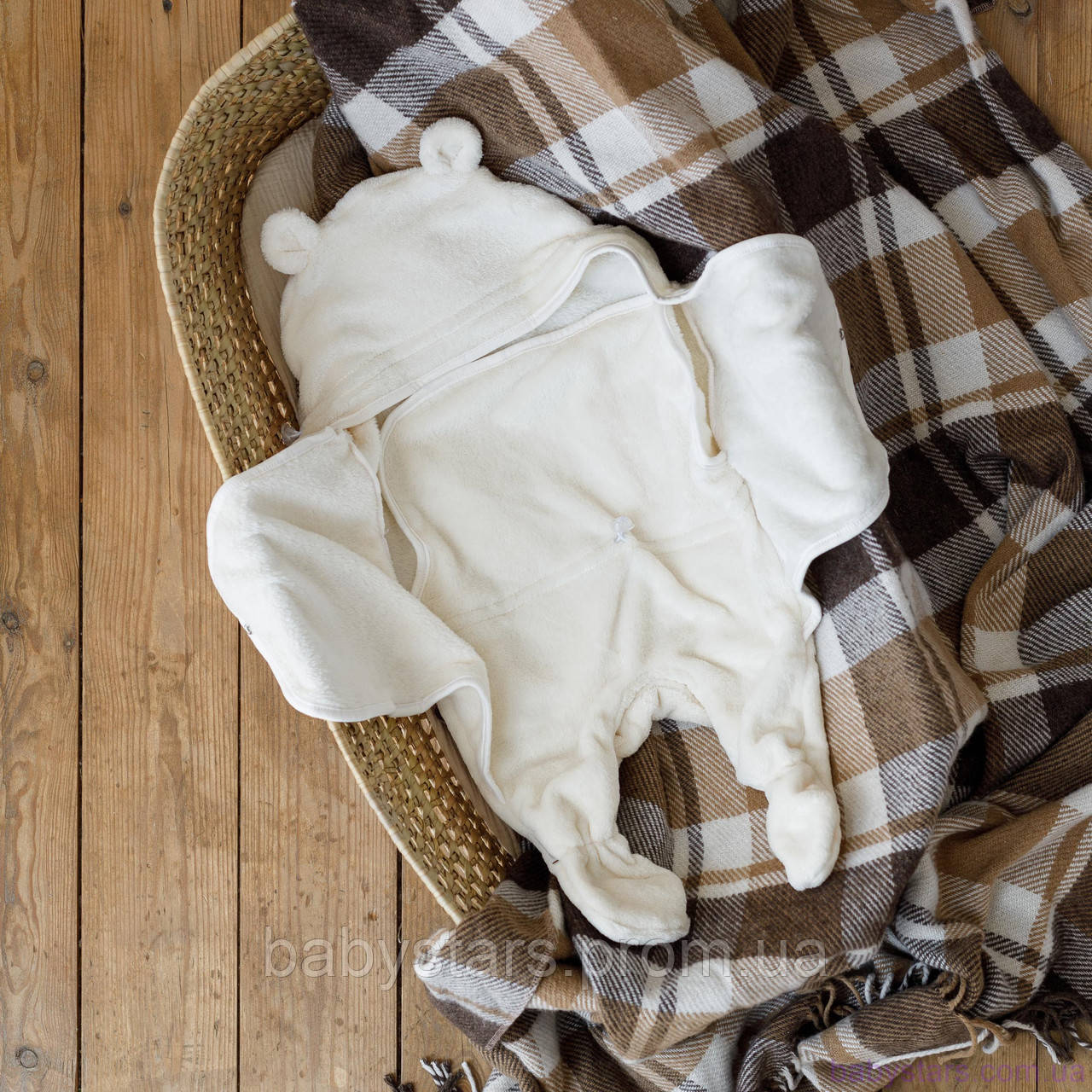 Универсальный махровый спальник, молочный, 6-12 мес.
