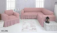Чехол на угловой диван и кресло розовое