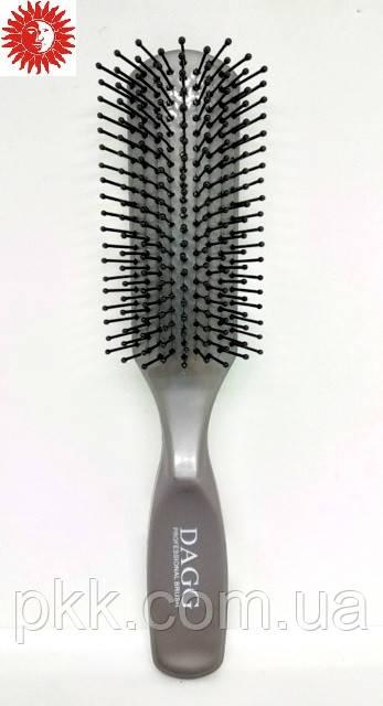 Расчёска для волос DAGG пластик массажная сплошная с пластиковыми зубчиками 9124