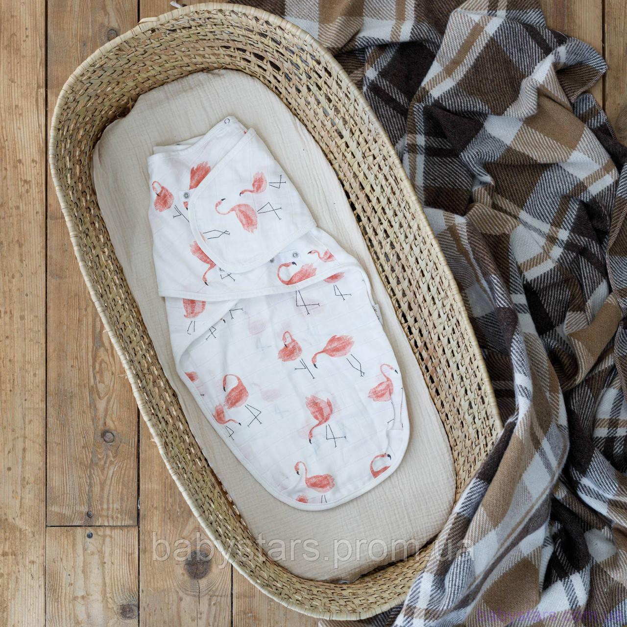 """Свивальник для младенца, муслиновая пеленка """"Фламинго"""", для детей 0-3 мес"""