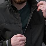 Чоловіча куртка (вітрівка) кольору хакі. Великого розміру, фото 7