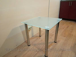Кавовий скляний столик Квадро матовий 50×50×50 см