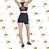 Женский спортивный комплект шорты с голубыми вставками и топ черного цвета, фото 2