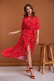 Длинное красное платье из вискозы с эффектом перекрута и разрезом, размер от 42 до 50