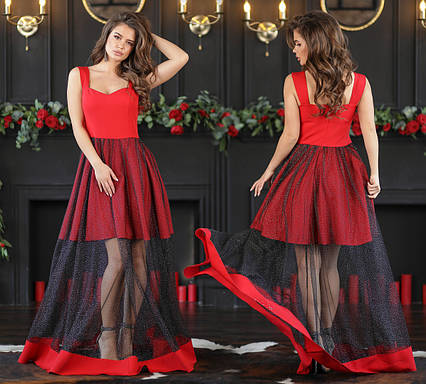 """Женское нарядное длинное платье 359 """"Контраст Сетка Сияние Макси"""" в расцветках"""