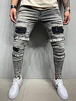 Джинсы мужские серые 2YPREMIUM ,зауженные рваные джинсы Турция с липучками, модные мужские джинсы