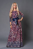 Эффектное молодежное платье длинное в пол с леопардовым принтом