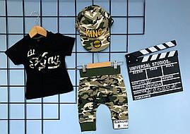 Летний комплект 3-ка для мальчика ,KING  Hip-Hop 1-2/2-3/3-4/4-5лет (чёрная футболка, шорты камуфляж )
