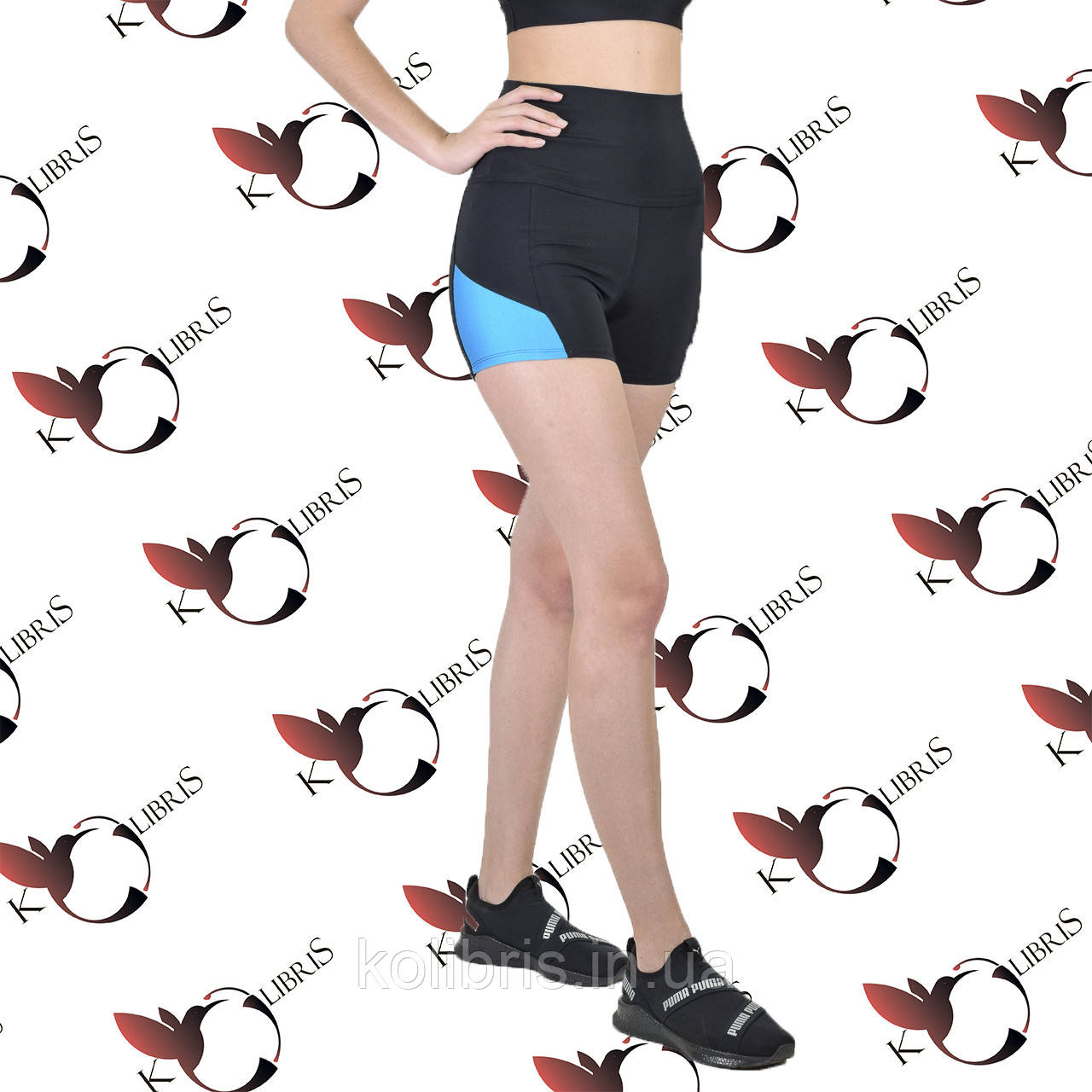 Шорты утяжка женские спортивные  черный элластан с голубыми вставками
