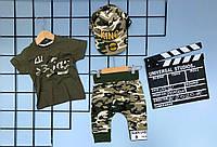 Летний комплект 3-ка для мальчика  , KING  Hip-Hop 1-2/2-3/3-4/4-5/5-6 лет ( футболка хаки, шорты камуфляж )