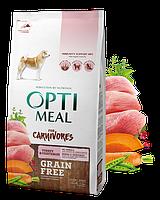 Сухой беззерновой полнорационный корм Optimeal для взрослых собак всех пород - индейка и овощи 1,5 кг