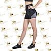 Жіночі спортивні стяжка-шорти із завищеною талією з сірими вставками, фото 3