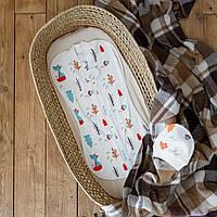 """Пеленка кокон с шапочкой для новорожденных на молнии """"Part"""", Лесная быль, для деток 0-3 мес."""