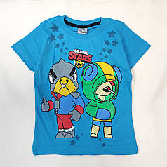 Детская футболка для мальчика бравл старс brawl stars голубая 5-6 лет
