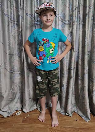 Детская футболка для мальчика бравл старс brawl stars голубая 6-7 лет, фото 2