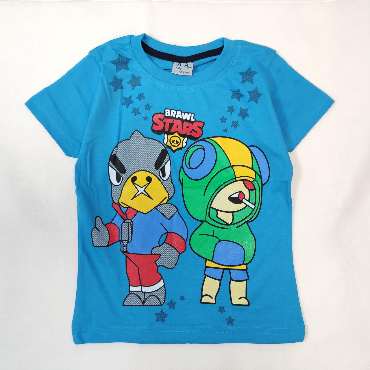 Детская футболка для мальчика бравл старс brawl stars голубая 7-8 лет