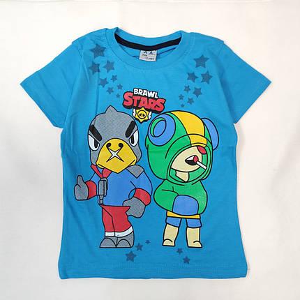 Детская футболка для мальчика бравл старс brawl stars голубая 7-8 лет, фото 2