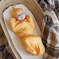 """Пеленка кокон для новорожденных на молнии + шапочка, """"Merely"""" горчица, для деток 0-3 мес."""