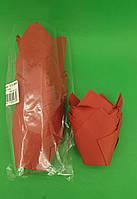 """Тартолетка для кексов""""Тюльпан Красный"""" (50*65/90) (100шт)/ТЛ-160/ (1 уп.), фото 1"""