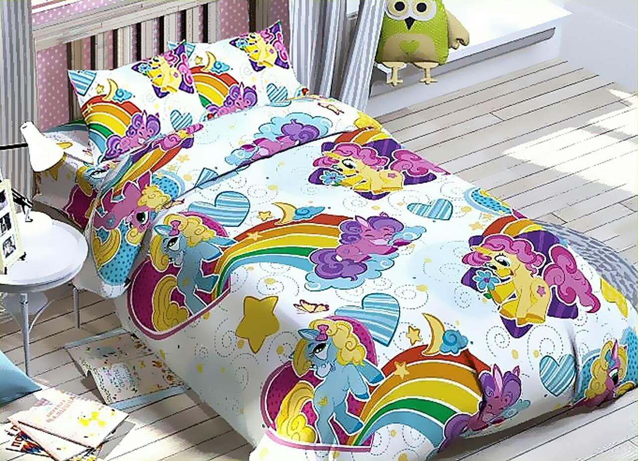 Комплект подросткового постельного белья Единорожки , Бязь Люкс,полуторный