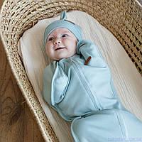 """Пеленки для новорожденных на молнии с шапочкой """"Merely"""",сизый, для деток 0-3 мес."""