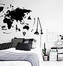 Наклейка на стену Карта мира путешественника (карта мира с воздушными шарами), фото 7
