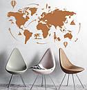 Наклейка на стену Карта мира путешественника (карта мира с воздушными шарами), фото 6