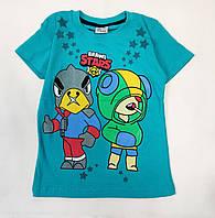 Детская футболка для мальчика бравл старс brawl stars бирюза 4-5 лет