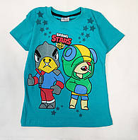 Детская футболка для мальчика бравл старс brawl stars бирюза 5-6 лет