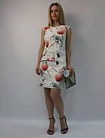 Летнее платье-футляр белое натуральное коттон ЛЮКС-качество выше колена, деловое, офисное, повседневное 38 (M)