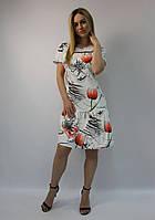 Летнее платье А-силуэт белое натуральное коттон ЛЮКС-качество выше колена, деловое, офисное, повседневное 40 (L)