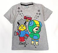 Детская футболка для мальчика бравл старс brawl stars серая 6-7 лет