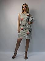 Летнее платье-футляр серое натуральное коттон ЛЮКС-качество выше колена, деловое, офисное, повседневное