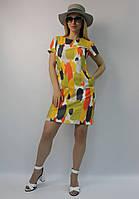 Летнее мини платье-футляр яркое натуральное коттон ЛЮКС-качество выше колена, деловое, офисное, повседневное