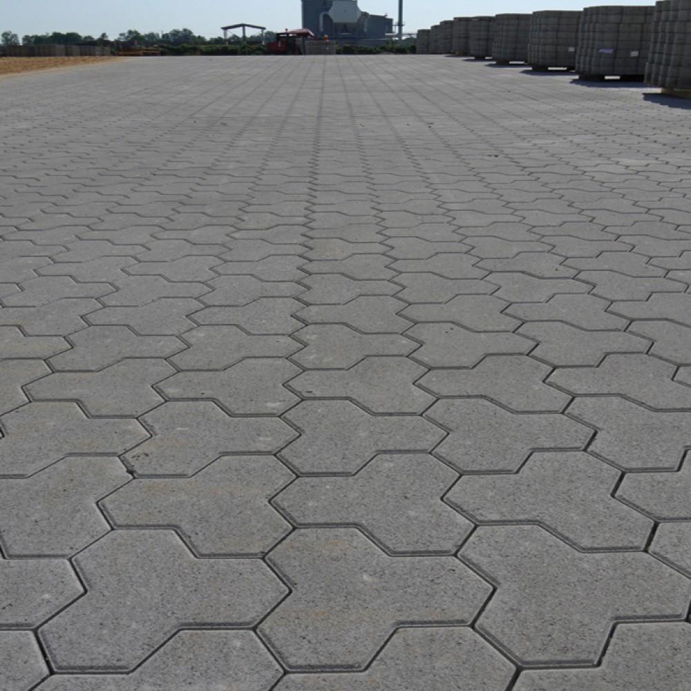 Тротуарна плитка  Тригран 180х180 (189 кг/м²) товщина 80 мм сірий