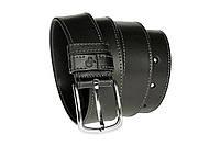 Качественный кожаный черный мужской ремень под джинсы Grande Pelle