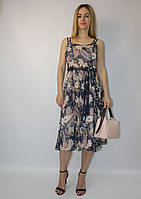 Нарядное шифоновое летнее платье-сарафан сине-пудровый принт ЛЮКС-качество легкое молодежное стильное Турция