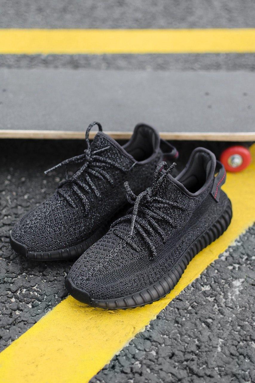 Кроссовки женские Adidas Yeezy V2 Black Reflective (адидас изи буст черный рефлектив)